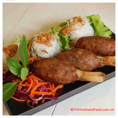Chopped Shrimp Paste wrapped sugar-cane (chạo tôm - tôm bọc mía). I usually serve it w vegetables, vermicelli and dipping fish sauce. How abt your choice? Share w me :)  Follow this recipe at www.vietnamesefood.com.vn