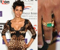 Halle Berry: Halle Berry accepted an emerald and gold engagement ring from Olivier Martinez designed in Paris by French designer Robert Mazlo. Their engagement was confirmed in March 2012.