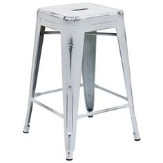 High Backless Distressed White Metal Indoor Counter Height Stool - Flash Furniture distressed stool will add a modern industrial appearance to your home or work space. This space-saving stool is stackable making it great for st