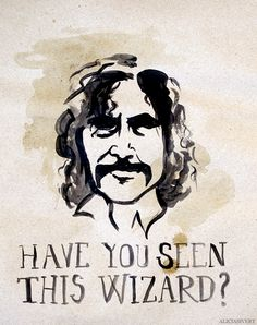 """Sirius Black wanted poster """"Have You Seen This Wizard"""", Harry Potter poster, by Alicia Sivertsson, 2014. Acrylics and coffee on paper, 44,5 x 35 cm."""