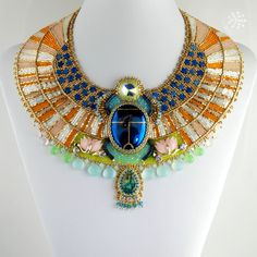 Aether - Egyptian Scarab Necklace - CUSTOM ORDER - Bead Embroidered... ($1,500) ❤ liked on Polyvore featuring jewelry, necklaces, egypt, accessories, egyptian collar necklace, multi color statement necklace, vintage collar necklace, bead necklace and teardrop necklace