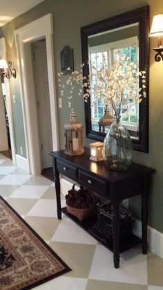 Home entrance ideas flooring painted diamond pattern foyers budget foyer painting beautiful entryway interior design . Rustic Entryway, Entryway Decor, Entryway Tables, Hall Tables, Entryway Ideas, Entryway Console, Entryway Furniture, Country Furniture, Console Tables