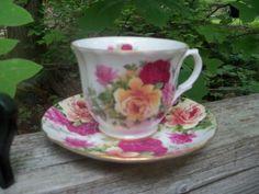 Allyn-Nelson-Tea-Cup-Saucer-Set-Fine-Bone-China-England-Roses