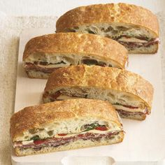 These hearty sandwiches pack beautifully for toting along on a tailgate in the fall, and perfect for a picnic or the beach in the summer.
