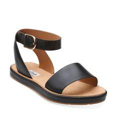 Romantic Moon Black Leather - Womens Medium Width Shoes - Clarks