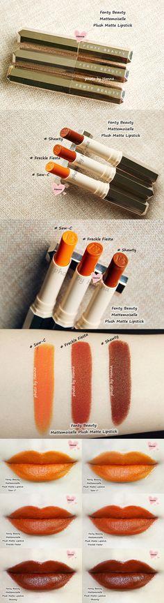 Fenty Beauty Mattemoiselle Plush Matte Lipsticks in 'Saw-C', 'Freckle Fiesta' and 'Shawty'
