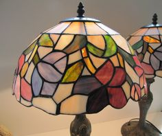 Vintage Tiffany Style Stained Glass Lamps by oldgoatandhorse