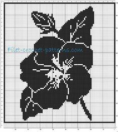 Curtain big flower filet crochet pattern - free filet crochet patterns download