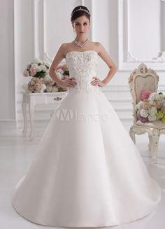 Vestido de novia de marfil de satén con escote de corazón de cola larga - Milanoo.com
