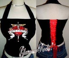 Guns N Roses Band Concert Shirt Rhinestone Halter by Glamourrocks