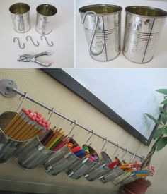 DIY Organization : DIY Tin Can Pencil Holders for your kids study desk Really nice idea and design! Craft Organization, Classroom Organization, Organizing Ideas, Bedroom Organization, Stationary Organization, Classroom Desk, Organization Station, Office Supply Organization, Tin Can Crafts