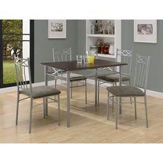 Monarch Specialties Inc. 5 Piece Dining Set with Silver Metal Legs in Cappucinno