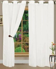 """HLC.ME Pair of White Sheer Curtain Grommet Panels - 56 by 84 Inch by HLC.ME. $10.99. Sheer Curtain Grommet Panels will liven up your indoor or outdoor spaces with a sense of airiness and beauty. Made from solid color polyester voile. Grommets feature an exquisite chrome finish. Our luxurious sheer grommet panels gives your home a new elegant look. Allows natural light to flow through the room. Each panel is 56 """" in Width and 84"""" in Length. For a full look use 2 p..."""