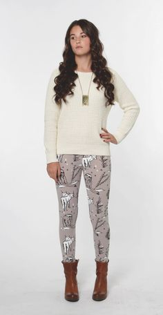 Hand Printed 'Animal' Leggings in White and Black on Grey