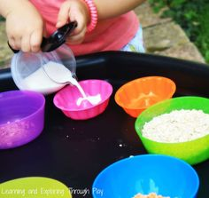 A delightful sensory play set up with creamy porridge. Bring to life Goldilocks and the Three Bears.