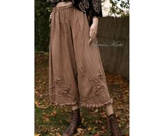 Bohemian Hand Dyed Lagenlook Bloomers Plus Size Linen Pants with Applique Roses and Pintuckes Art to Wear Made to Order