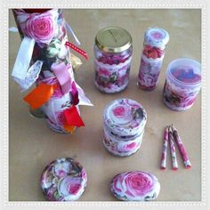 Litle vases and a recycled paper cylinder with decoupage!