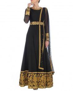 Black Anarkali Suit with Golden Paisley Hem by Kylee Shop Now: http://bit.ly/kyleewedding #Embroidery #Luxury #Fashion #DesignerWear #Multicolour #India #Ethnic #Desi #ExclusivelyIn #Indian #Sequins #Elegant #Lengha #Neon #Gorgeous #Designer #Golden #Zari #Lehenga #Print #PartyWear #Multicolor #WeddingWear #Kylee #Anarkali #Black