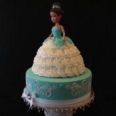 White and Aqua Blue Doll on a Cake Doll cake