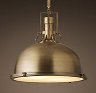 "Harmon 19"" Pendant - Antique Brass; Restoration Hardware - over island lighting?"