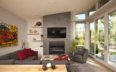 Living room area in Stillwater Dwellings second home located in the Cascade Mountains 90 miles east of Seattle.