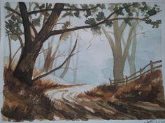 4. Obra propia procedente de un curso de dibujo del año 2005. Camino del bosque. Técnica húmeda, acuarela. Quise expresar el otoño del bosque. Representación fotográfica.