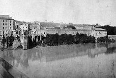 Tevere. Ponte Sisto con la Farnesina prima dei muraglioni. Anno: 1887 Rome, Italy, Photo And Video, Cleopatra, Painting, Larger, Memories, Places, Art