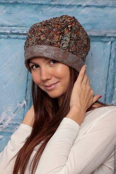Купить шапочка валяная - комбинированный, абстрактный, шапочка, шапочка валяная, стильный аксессуар, аксессуары