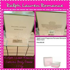 RALPH LAUREN ROMANCE SENSUOUS BODY CREME NEW IN BOX! This us a RARE piece in the Ralph Lauren Romance Collection. Ralph Lauren Romance For Women Sensuous Body Creme is a continuous skin-softening hydration in a luxurious pink creme gently scenting the skin with the essence of romance. Paid $62 plus tax. Priced for quick sale. MAKE ME AN OFFER, GORGEOUS! Ralph Lauren Makeup