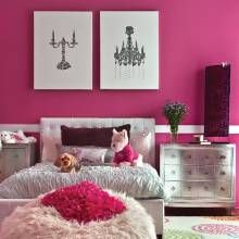 This little girls bedroom is a vision of glam in hot pink, white and silvery tones.