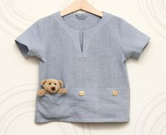 Boys shirt from natural linen with pockets for treasures by ZanziBach on Etsy