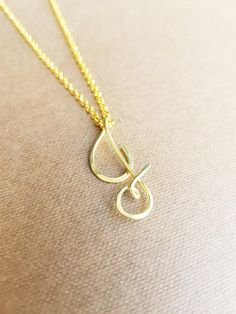 Tiny 22k Gold Cursive Initial J Necklace Uppercase Letter J