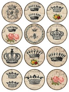 crowns Vintage Printable Tags Digital Collage Sheet by 300dpi