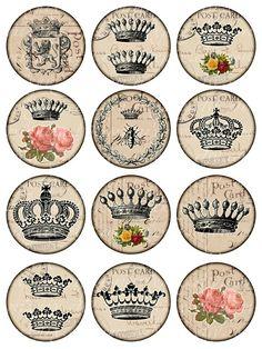 crowns Vintage Printable Tags Digital Collage Sheet large circle images 2.5 inch…