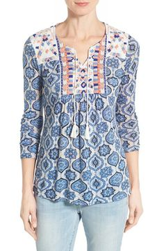 Lucky Brand Embroidered Block Print Split Neck Top