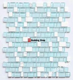 Blue glass mosaic kitchen backsplash wall tile SGMT172 white stone bathroom tiles glass stone tile backsplash [SGMT172] - $24.09 : MyBuildingShop.com
