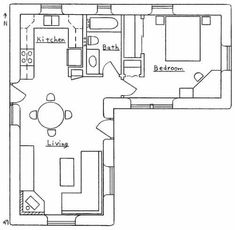 Small house floor plan. That open outdoor space would be perfect for a porch, partially closed to keep out the Alaskan mosquitoes.