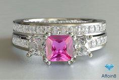 3.00 CT Princess Cut 2 Piece Pink Sapphire Bridal Wedding Ring Set 925 Silver  #affoin8