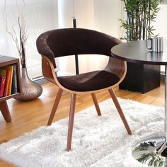 LumiSource Vintage Mod Mid-Century Accent/ Dining Chair (Vintage Mod Chair Walnut + Espresso), Brown (Upholstered)