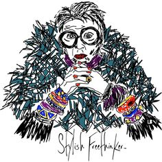 STYLISH FREETHINKER™ | WOMENS *SPECIAL EDITION* IRIS APFEL | GRAY ROCKER TEE