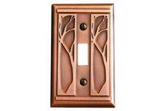 James Mattson Coppercraft Single Toggle Art Nouveau Switchplate