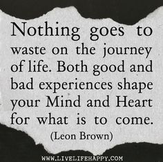 Nothing goes to waste on the journey of life. Both good and bad experiences shape your mind and heart for what is to come. -Leon Brown by deeplifequotes, via Flickr