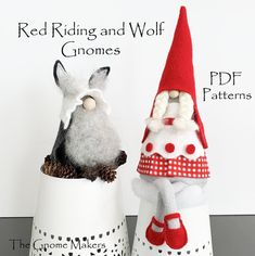 Gnome Sewing Pattern RED RIDING Gnome and WOLF Gnome Pattern | Etsy