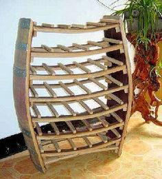 Whole Barrel Wine Rack from reclaimed wine by Mastergardenproducts