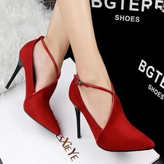 Women's Sexy High-Heel Cross-Strap Leather Suede Pumps 6 Colors