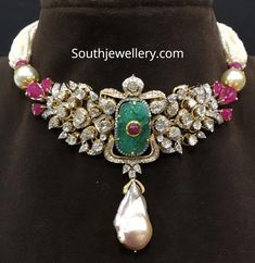 Jewelry OFF! Pearl choker with pendant studded with polki diamonds diamonds rubies and emerald by Ananth Diamonds. Pearl Necklace Designs, Pearl Jewelry, Indian Jewelry, Silver Jewelry, Gold Jewelry Simple, Trendy Jewelry, Fashion Jewelry, Simple Necklace, Necklace Set