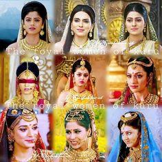From left upper to right bottom: Satyavati, Ambalika, Ambika, Gandari, Kunti, Madri, Draupadi, Subadra, Uttara