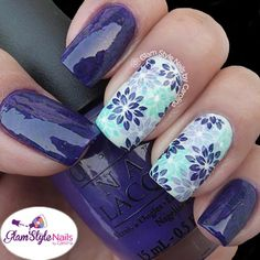 "LAVENDER & MINT FLORAL MIX WITH SWIRLS Day 02 for the #NailArtJan ""Fresh"". For the flowers I used stamping plate BM06 by Bundle Monster. The swirls in purple I did in the other nails my camera couldn't capture so good but I used plate Handy 2. The 2 base colors I used are #DoYouHaveThisColorInStock-holm? by OPI and #HintofMint by Nina Ultra Pro. Do you like this idea?. Let me know!."