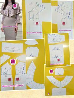 Sewing Paterns, Dress Sewing Patterns, Clothing Patterns, Pattern Drafting Tutorials, Sewing Tutorials, Sewing Projects, Moda Fashion, Fashion Sewing, Collar Pattern