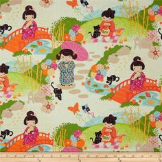 Aoi has 2 Sisters in Orange by Alexander Henry Fabrics by the Yard by LaCreekBlue on Etsy